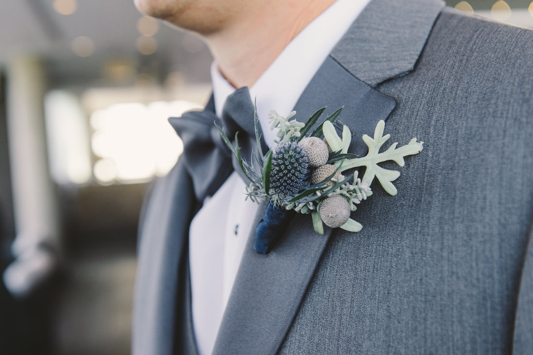 Groom's Thistle Boutonniere | Thompson Hotel Rooftop Wedding, Toronto | EIGHTYFIFTH STREET PHOTOGRAPHY