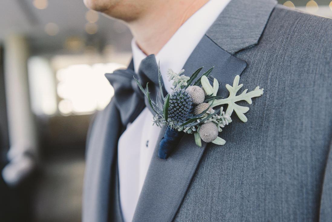 Groom's Thistle Boutonniere | Thompson Hotel Rooftop Wedding, Toronto | EIGHTYFIFTH STREET PHOTOGRAPHY
