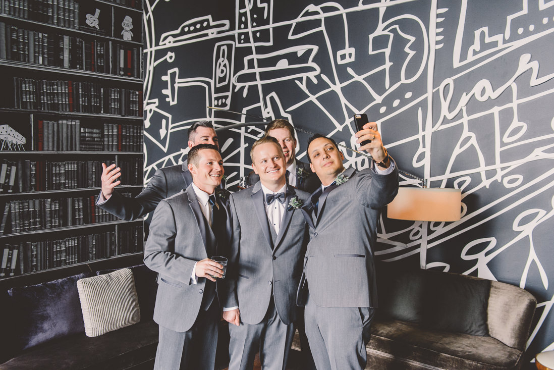 Groomsmen Selfie | Thompson Hotel Wedding, Toronto | EIGHTYFIFTH STREET PHOTOGRAPHY