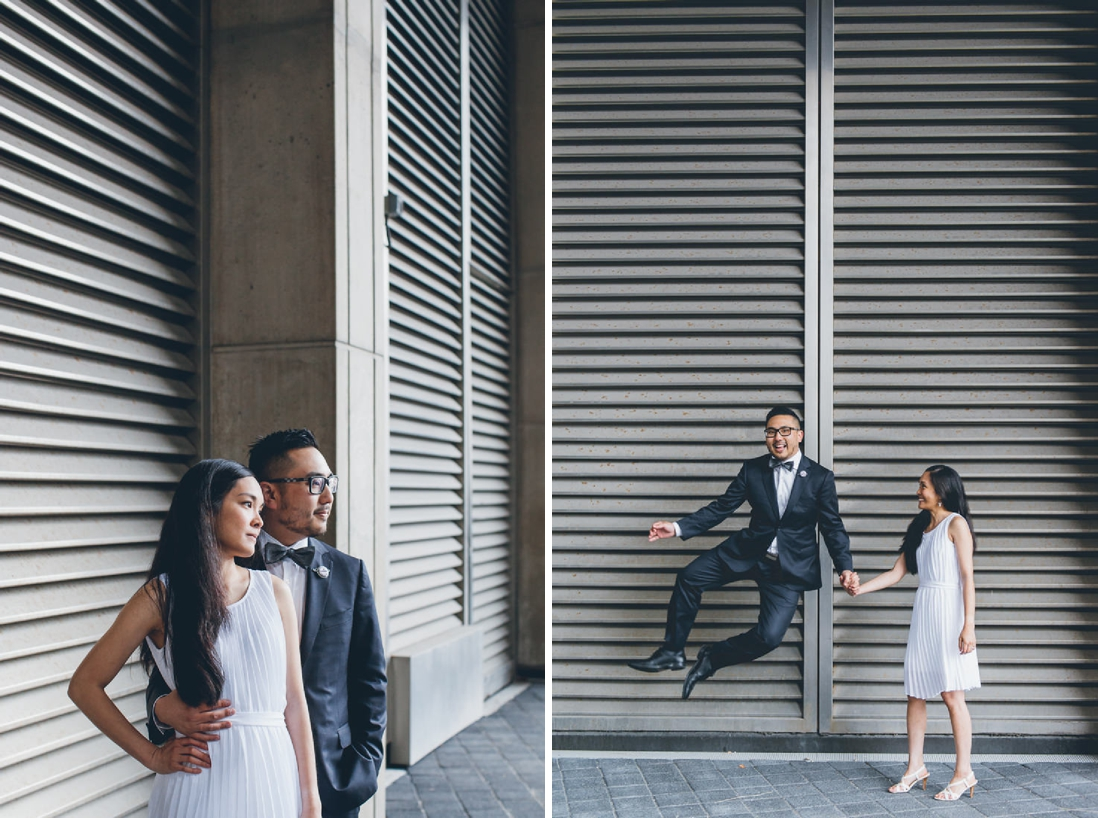 Groom jumping for joy | Toronto City Hall Wedding | EIGHTYFIFTH STREET PHOTOGRAPHY