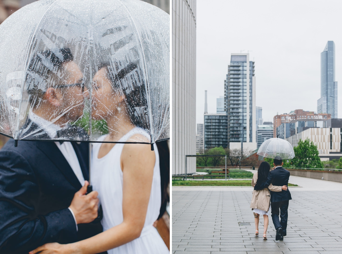 Bride & Groom under clear umbrella in the rain | Toronto City Hall Wedding | EIGHTYFIFTH STREET PHOTOGRAPHY