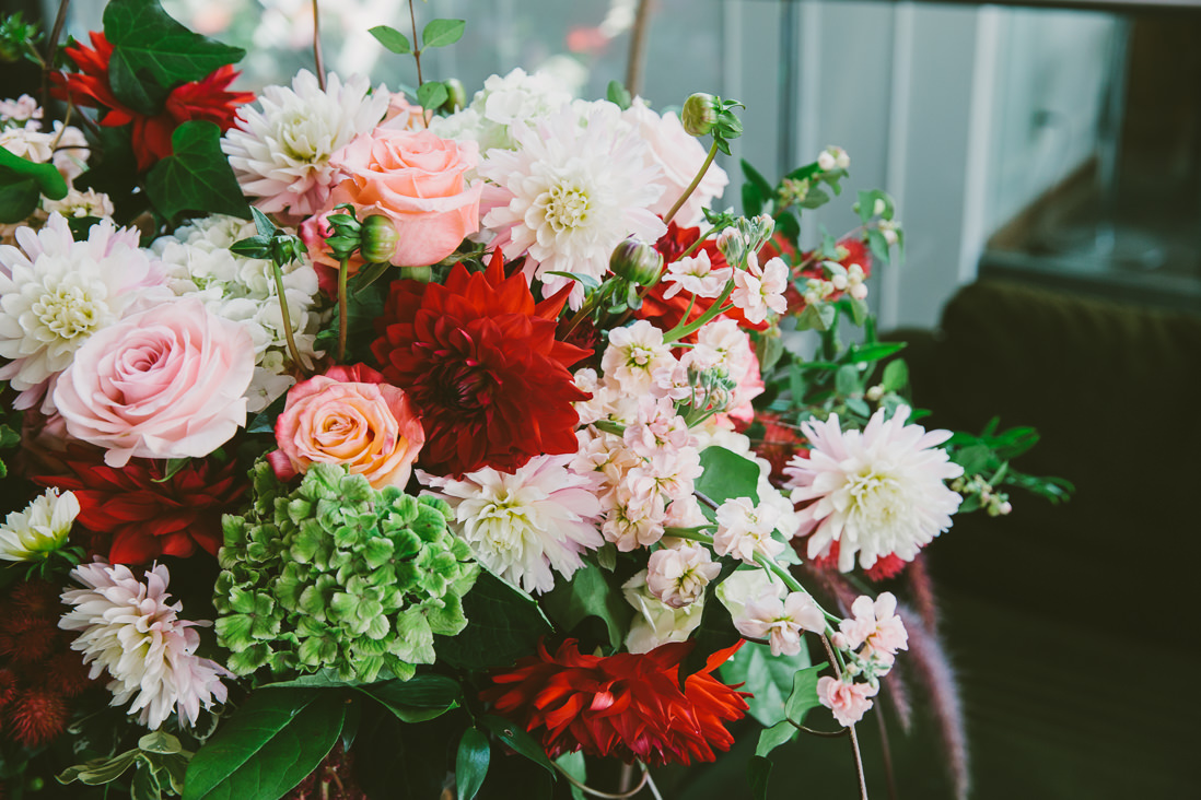 Red Dahlia Floral Arrangement | Spoke Club Wedding Toronto | EightyFifth Street Photography