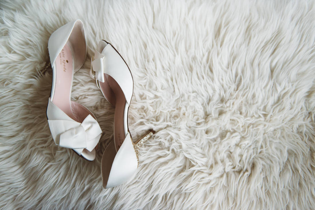 White Kate Spade wedding shoes with glitter heel | EIGHTYFIFTH STREET PHOTOGRAPHY