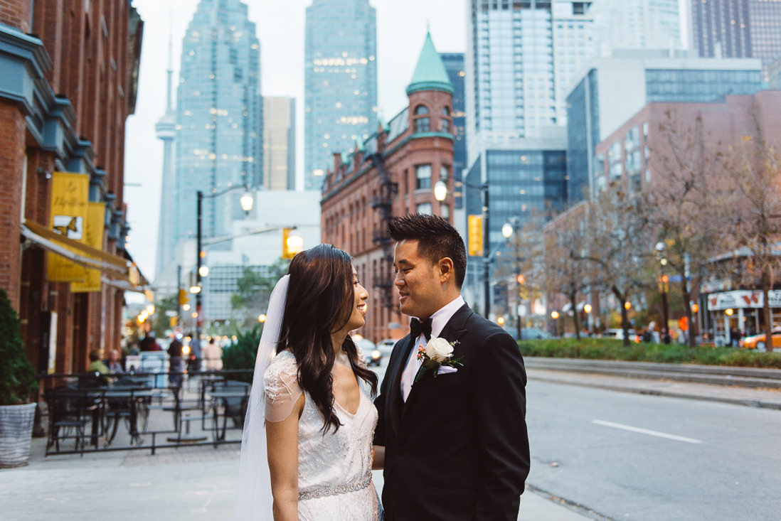 Bride & Groom portrait | Flat Iron Building | Front Street Toronto | EIGHTYFIFTH STREET PHOTOGRAPHY