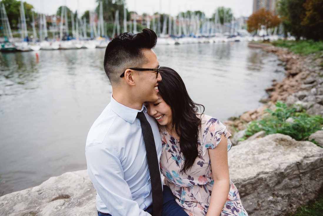 Couple laughing | Lakeside Park Engagement | EightyFifth Street Photography