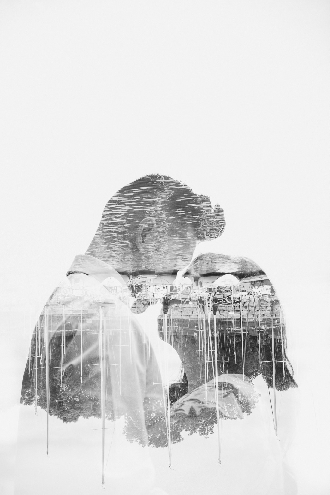 Black & White Double Exposure of Couple | Lakeside Park Marina Oakville | EightyFifth Street Photography