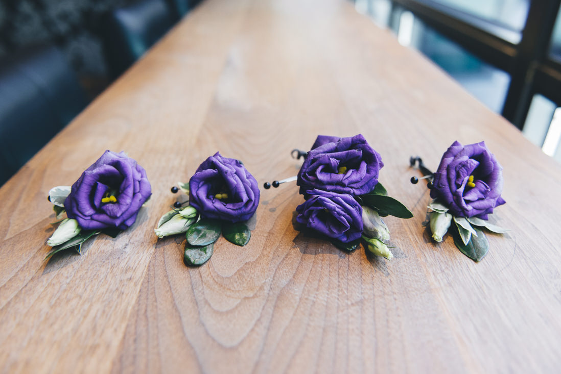 Purple Boutonnieres | Arcadian Loft Wedding, Toronto | EIGHTYFIFTH STREET PHOTOGRAPHY