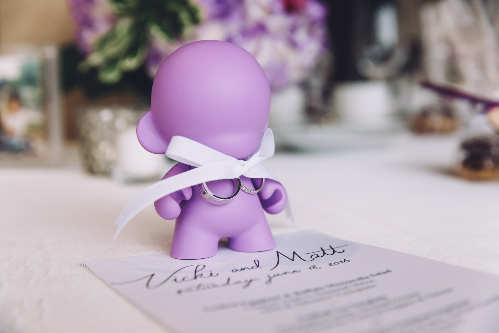 Puple Munny with Wedding Rings | Arcadian Loft Wedding, Toronto | EIGHTYFIFTH STREET PHOTOGRAPHY