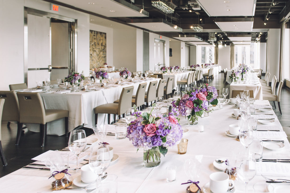 Purple themed Wedding Reception Decor | Arcadian Loft Wedding, Toronto | EIGHTYFIFTH STREET PHOTOGRAPHY