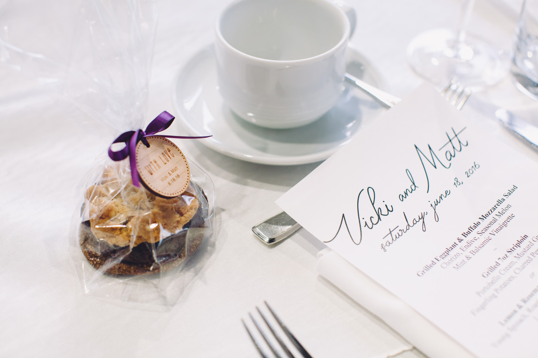 Wedding favours with wood tags and handlettered menu header | Arcadian Loft Wedding, Toronto | EIGHTYFIFTH STREET PHOTOGRAPHY