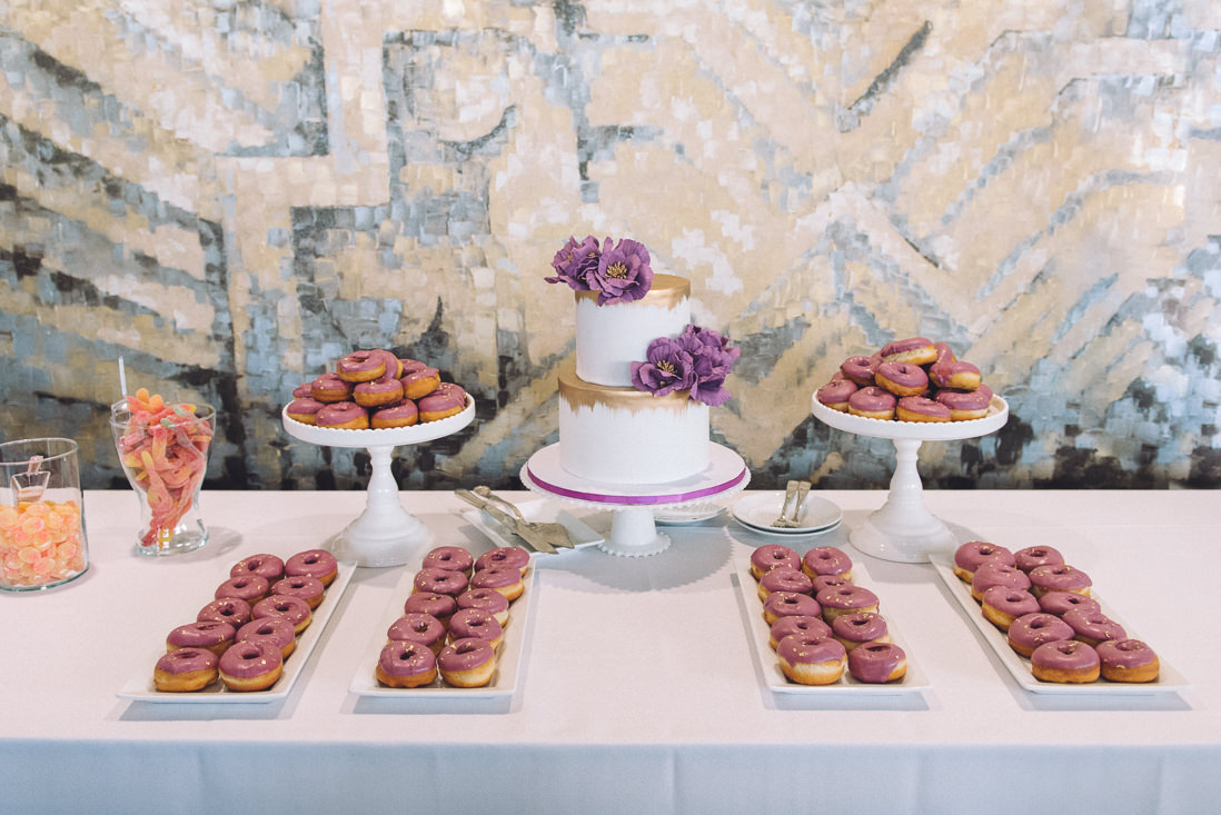 Wedding dessert table with 2 tiered cake and donuts | Arcadian Loft Wedding, Toronto | EIGHTYFIFTH STREET PHOTOGRAPHY