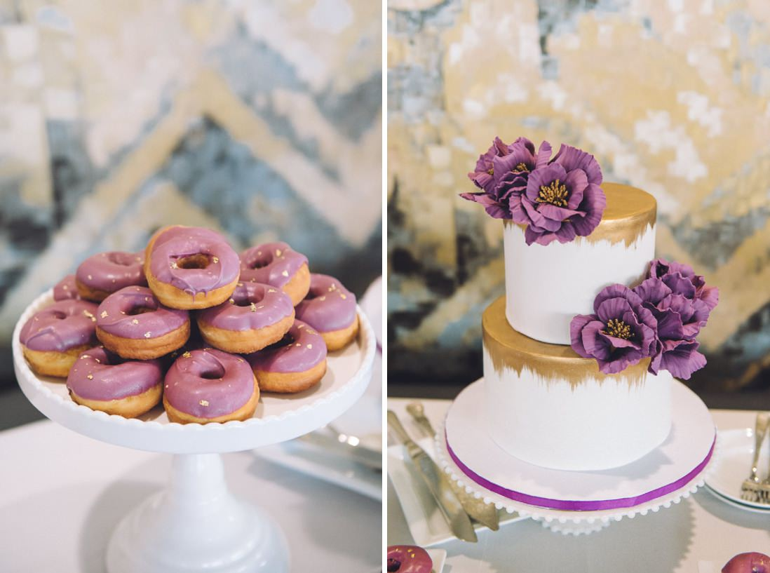 Purple wedding cake and donuts | Arcadian Loft Wedding, Toronto | EIGHTYFIFTH STREET PHOTOGRAPHY