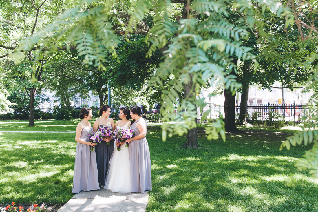 Bride & Bridesmaids in purple dresses | Osgoode Hall wedding, Toronto | EIGHTYFIFTH STREET PHOTOGRAPHY