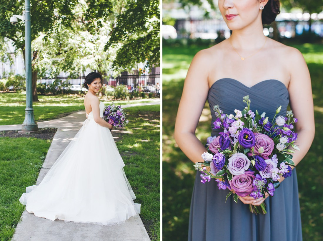 Bride & Bridesmaid with purple bouquet | Osgoode Hall wedding, Toronto | EIGHTYFIFTH STREET PHOTOGRAPHY