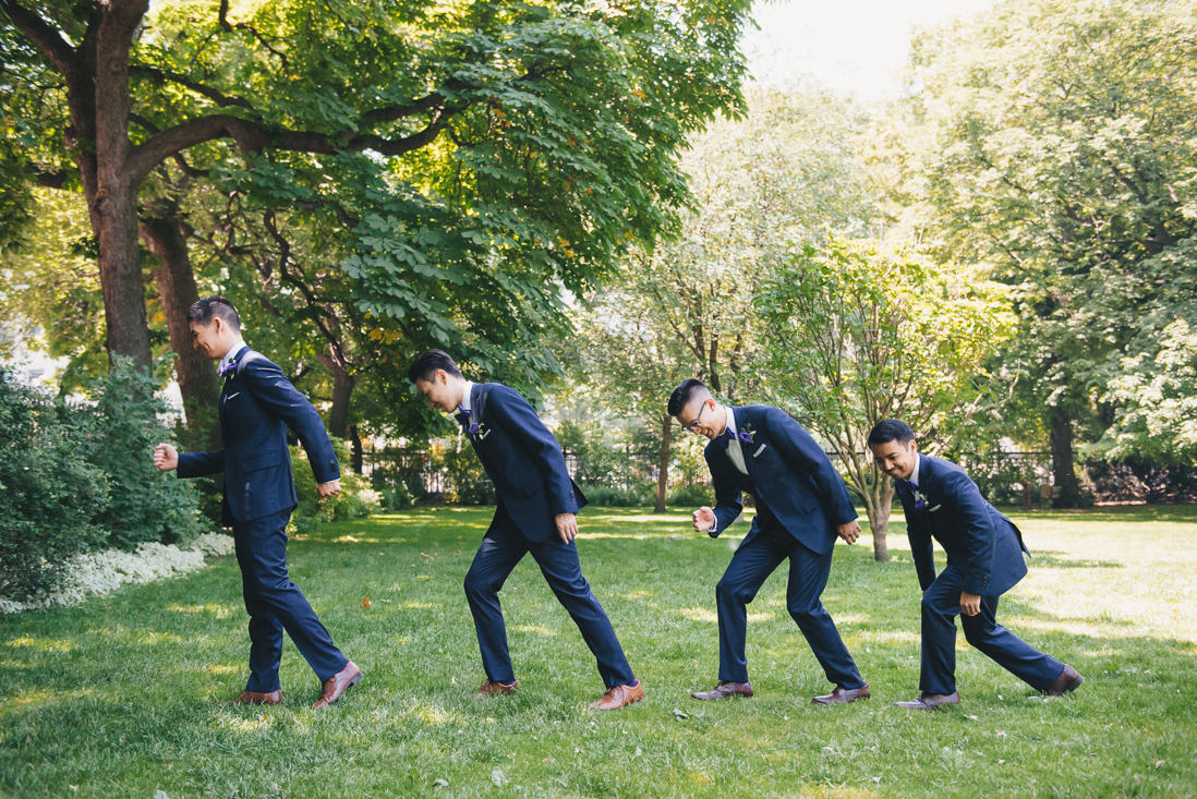 Groomsmen recreating Evolution of man | Osgoode Hall Wedding | EIGHTYFIFTH STREET PHOTOGRAPHY