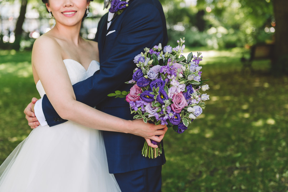 Bride & Groom portrait with purple bouquet | Osgoode Hall wedding, Toronto | EIGHTYFIFTH STREET PHOTOGRAPHY