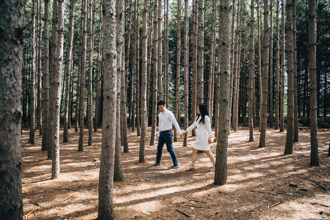 couple walking in the woods | kortright conservation engagement photos | engagement photo locations in vaughan | eightyfifth street photography
