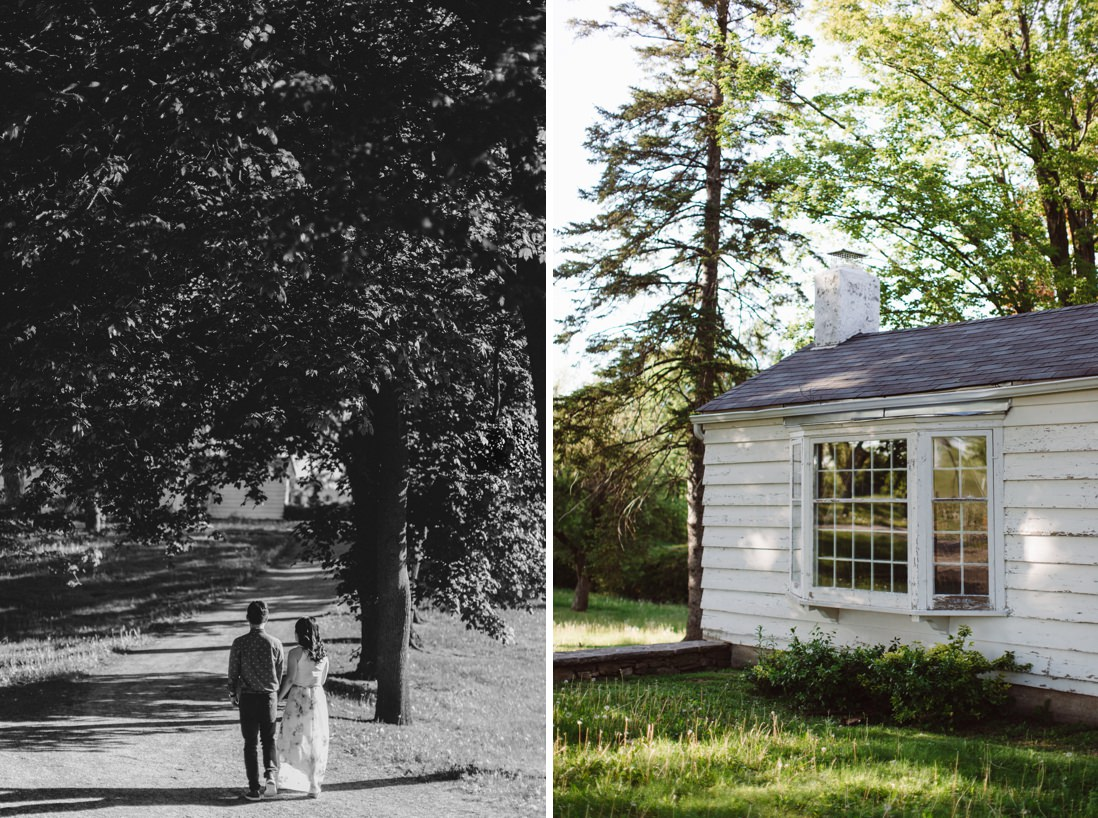 Black & White shot of couple walking on path | Scotsdale Farm Engagement, Georgetown | Toronto Wedding Photographer | EightyFifth Street Photography