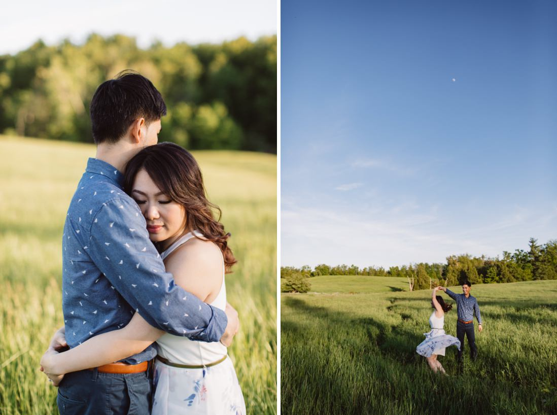 Dancing in field of tall grass | Scotsdale Farm Engagement, Georgetown | Toronto Wedding Photographer | EightyFifth Street Photography