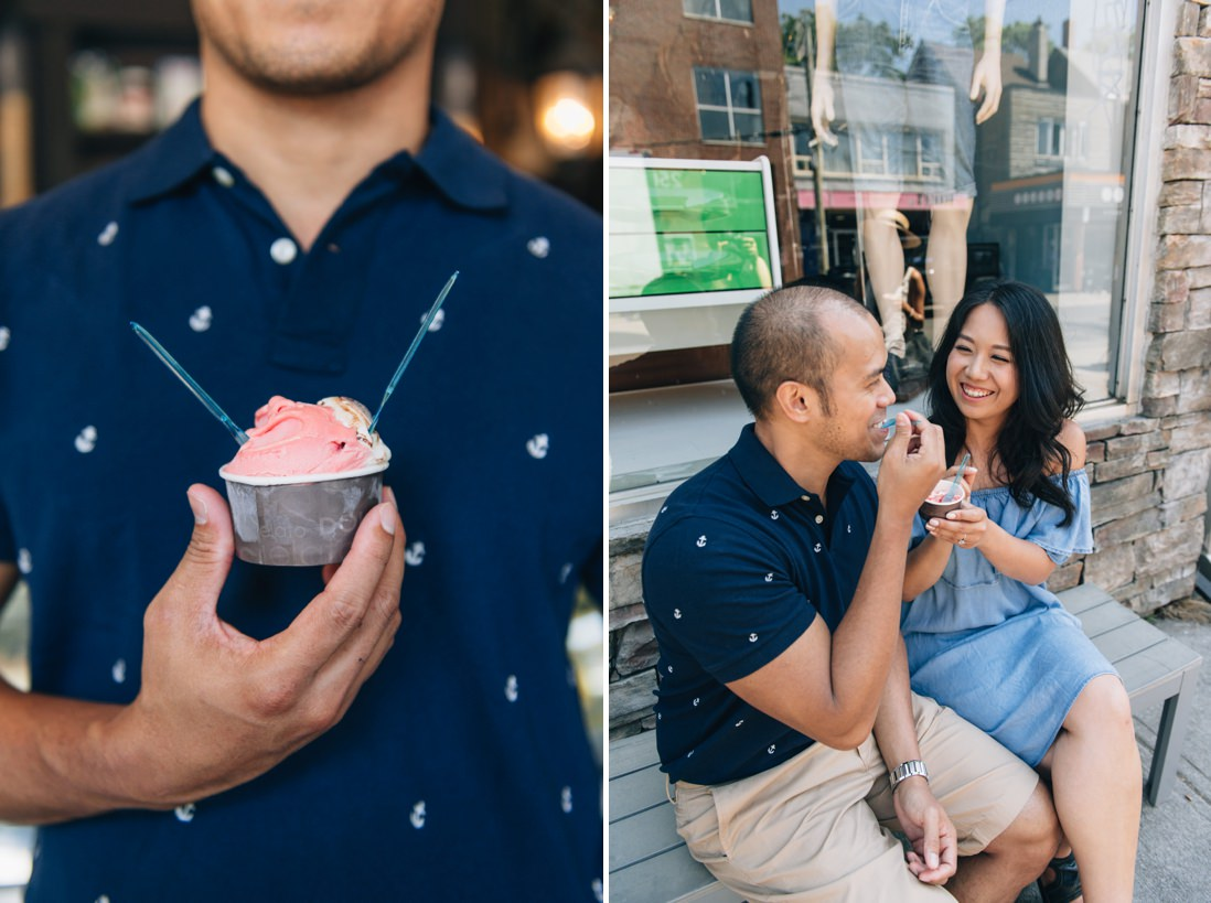 Couple eating watermelon gelato on a bench | Kensington Market Engagement, Toronto | EightyFifth Street Photography