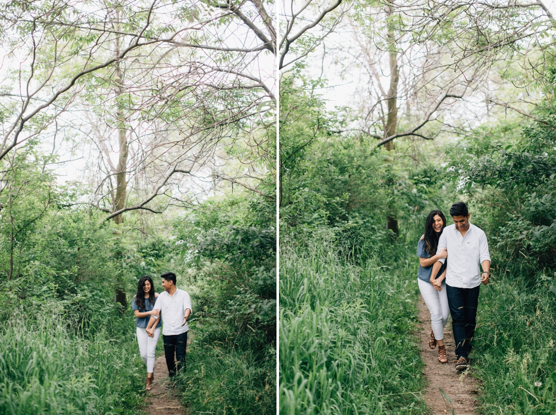 Couple walking on a park trail | Humber Bay Park Engagement Etobicoke | EightyFifth Street Photography
