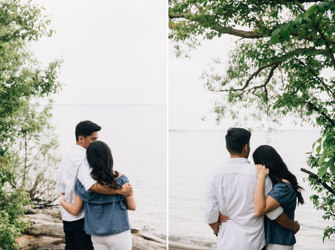 Couple hugging by the waterfront | Humber Bay Park Engagement Etobicoke | EightyFifth Street Photography