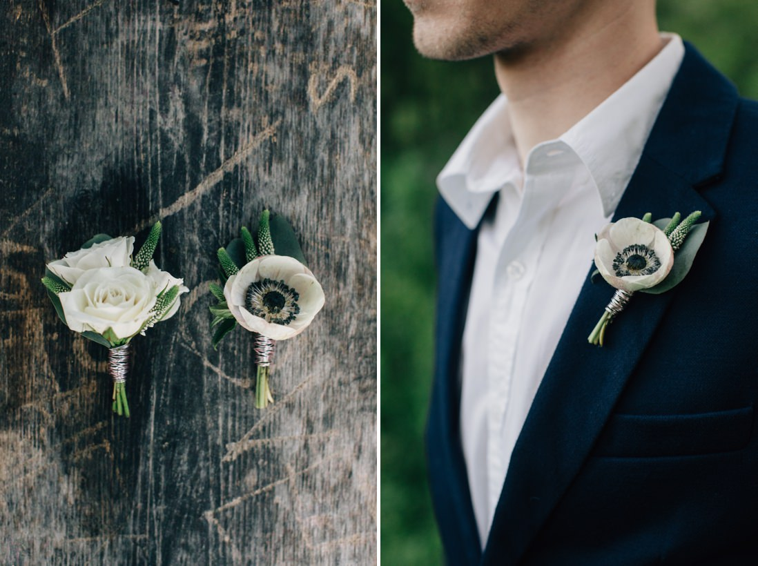 anemone boutonnieres, spring wedding inspiration | eightyfifth street photography