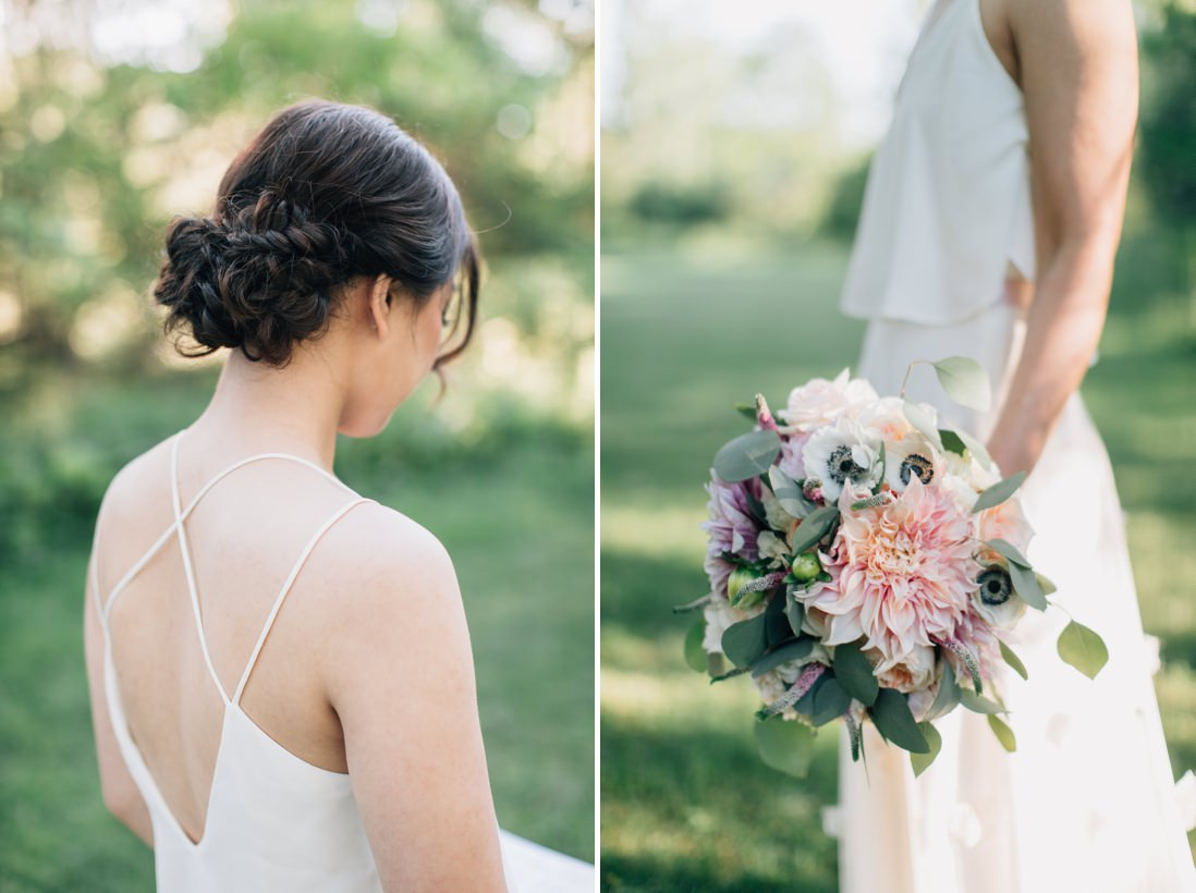 spring bride wedding inspiration, cafe au lait dahlia bridal bouquet, casual bridal updo | eightyfifth street photography