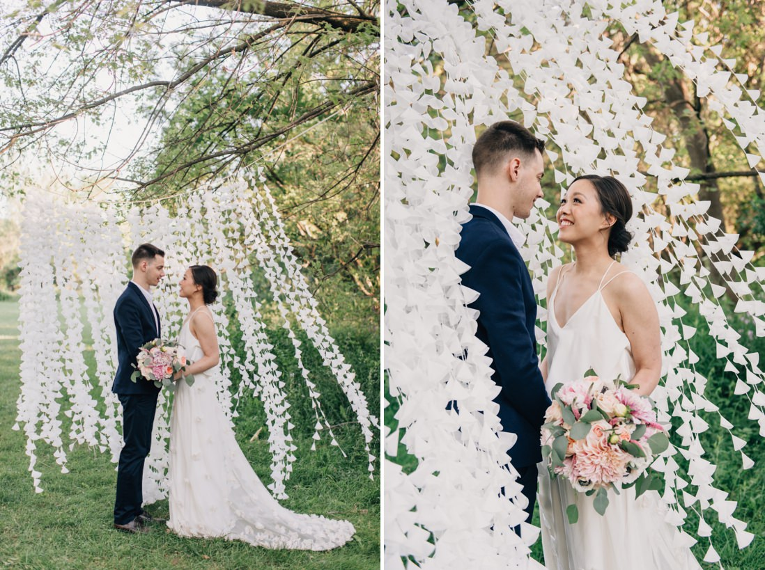 wax paper cone wedding backdrop, spring wedding inspiration | eightyfifth street photography