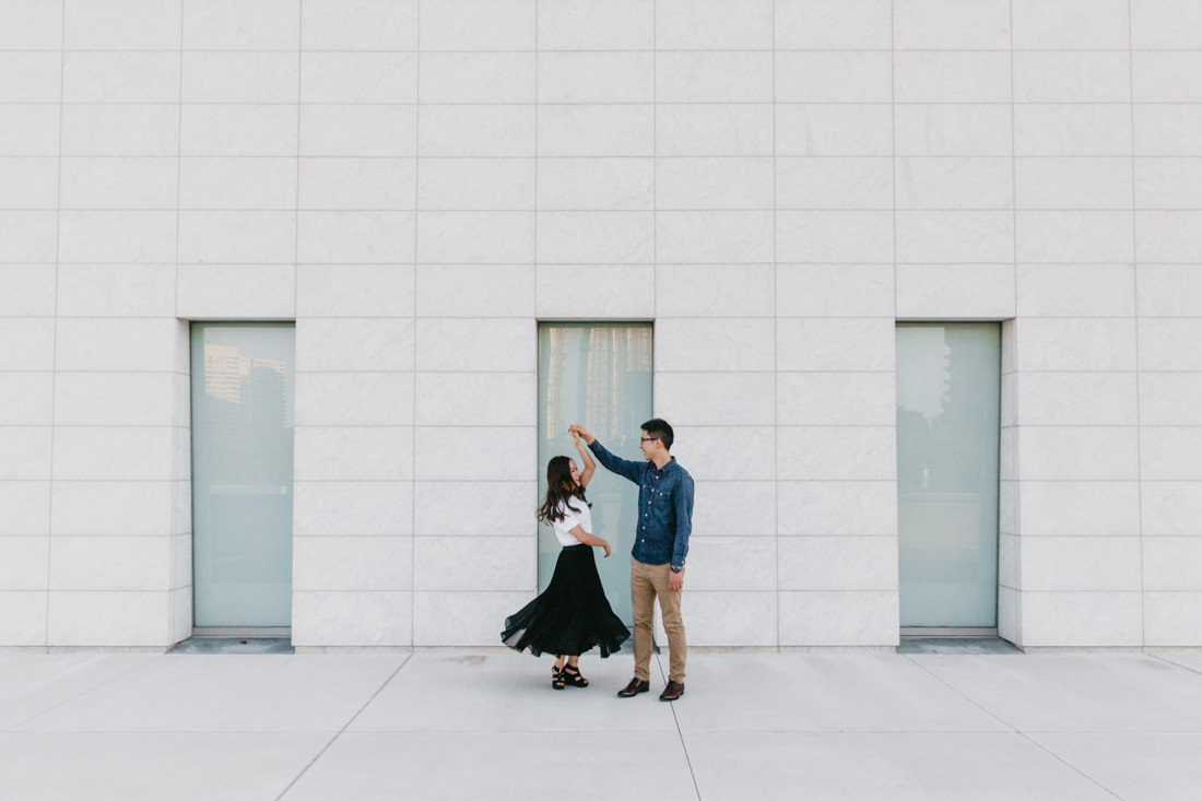 Couple Dancing | Aga Khan Museum engagement | Minimalist portrait location | Toronto Wedding Photographer | EightyFifth Street Photography