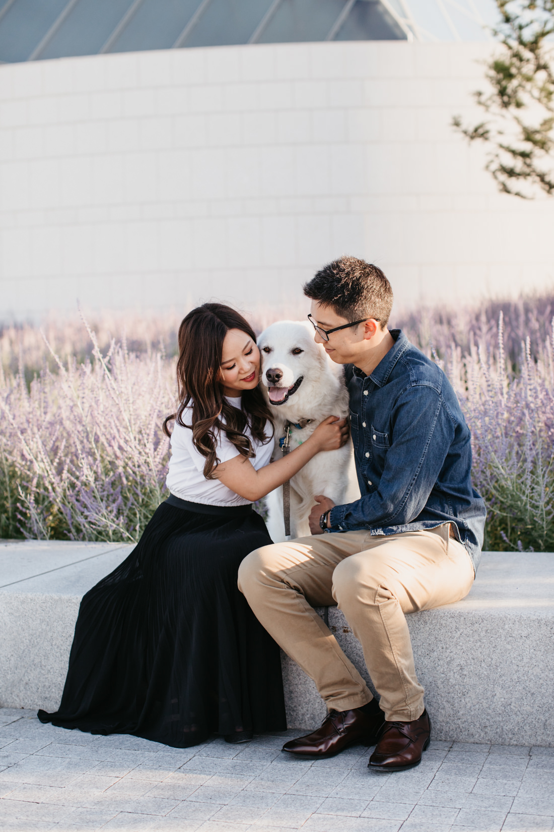 Engagement Photos with dog | Aga Khan Museum engagement | lavender portrait location | Toronto Wedding Photographer | EightyFifth Street Photography