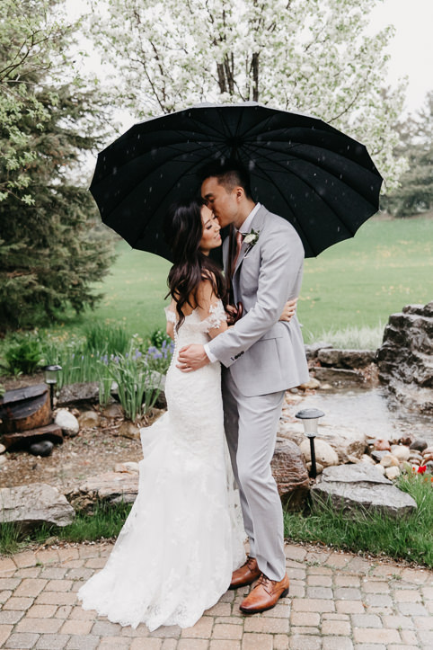 bride and groom under umbrella in the rain at the manor wedding in kettleby, ontario