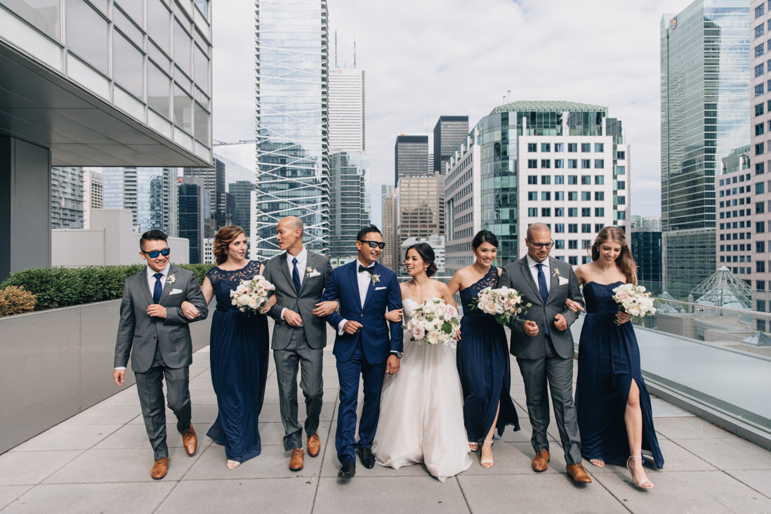 wedding party on the terrace at malaparte wedding bell tiff lightbox toronto