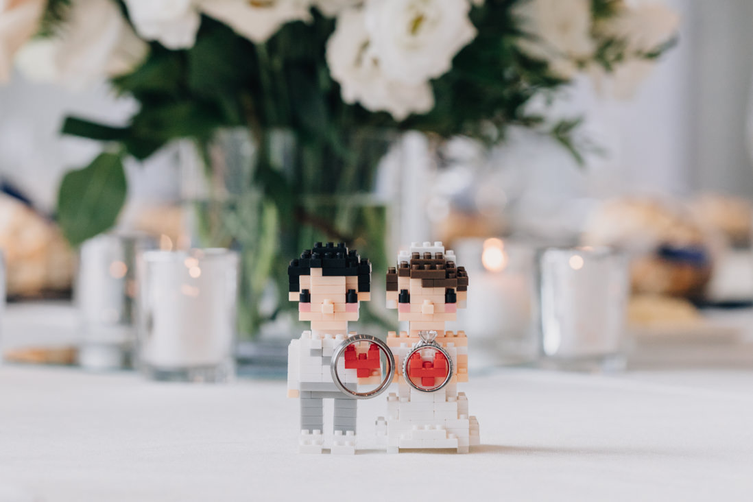 lego bride and groom from daiso with wedding rings toronto wedding