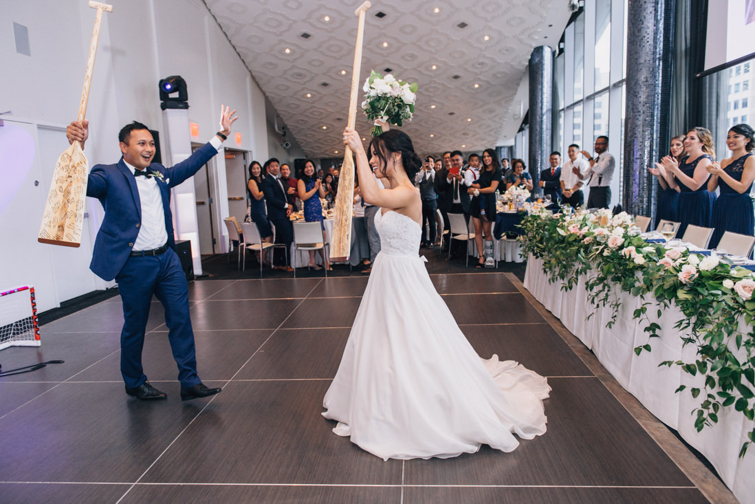 bride and groom grand entrance at malaparte wedding reception toronto