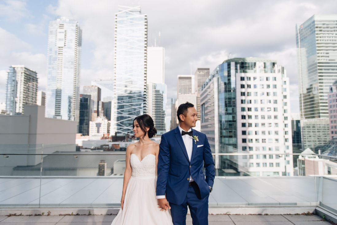 bride and groom portraits on the terrace at malaparte wedding toronto