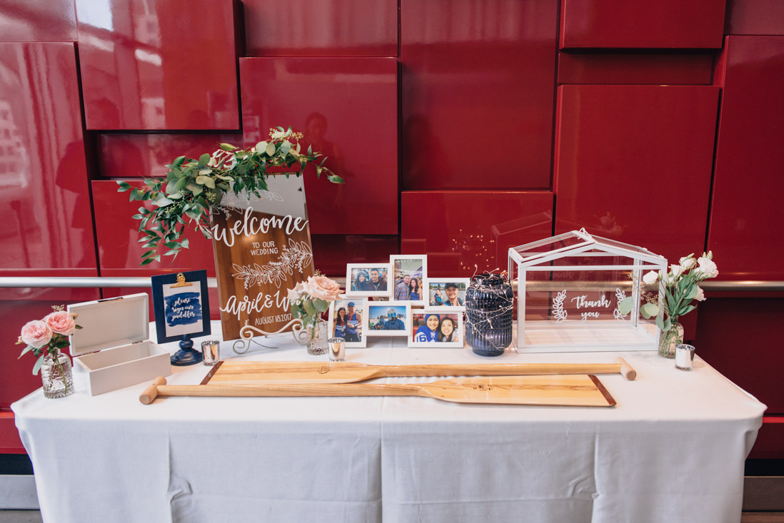 dragon boat themed guest reception table paddle guestbooks malaparte wedding toronto