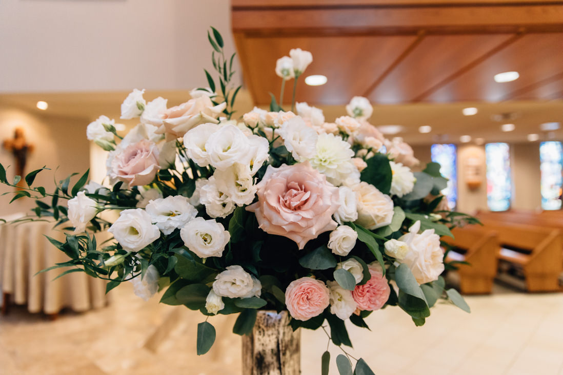 blush and cream floral decor at st patricks parish wedding markham ontario
