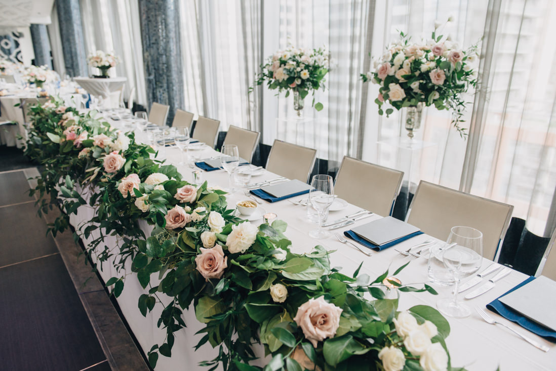 head table floral decor by flower 597 malaparte wedding toronto