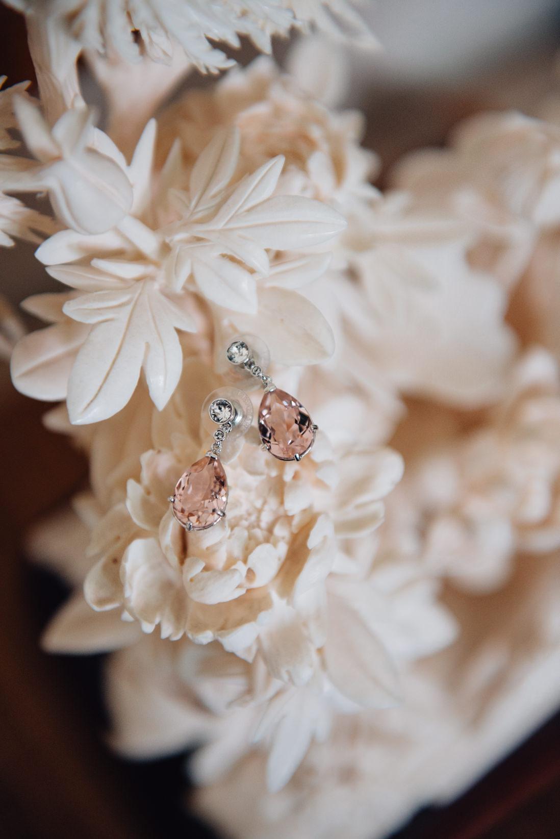 pink swarovski wedding earrings eightyfifth street photography