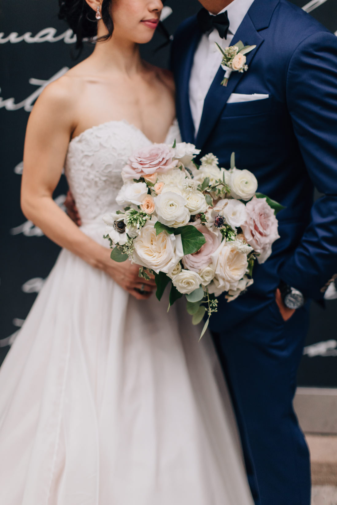 Floral detail blush and cream wedding bouquet and boutonniere Flower597 Toronto Wedding Photographer Eighty FifthStreet Photography