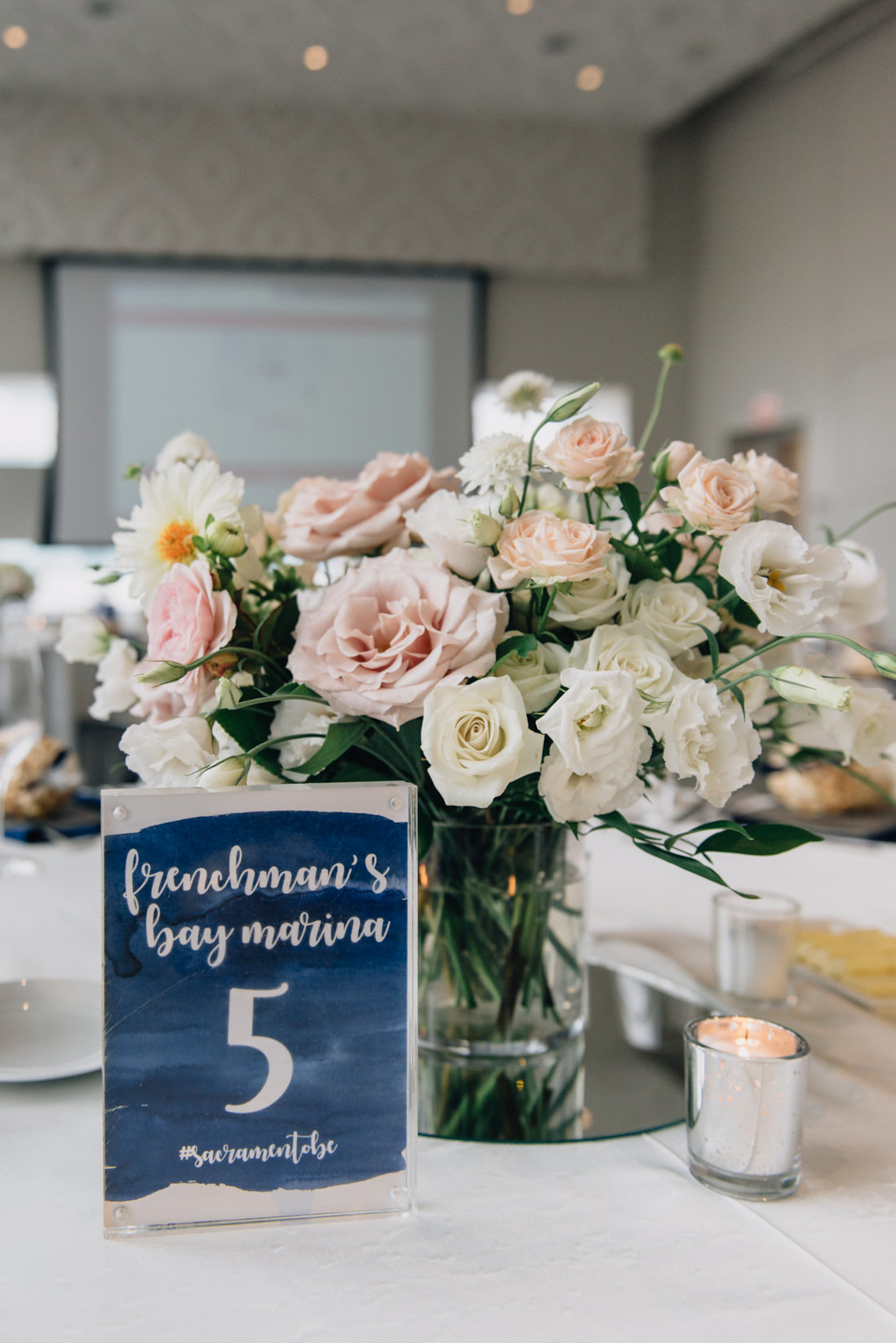 dragon boat table numbers_blush and cream centerpiece wedding reception eightyfifth street photography