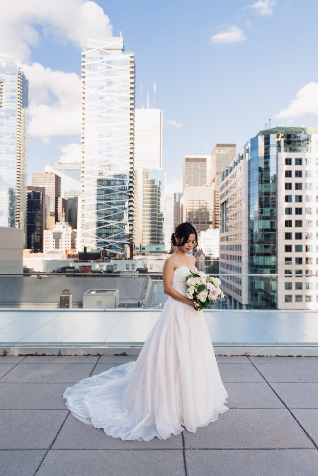 essense of australia dress bride with cream and blush bouquet_Malaparte_Wedding_Toronto_Wedding_Photographer | EightyFifth Street Photography