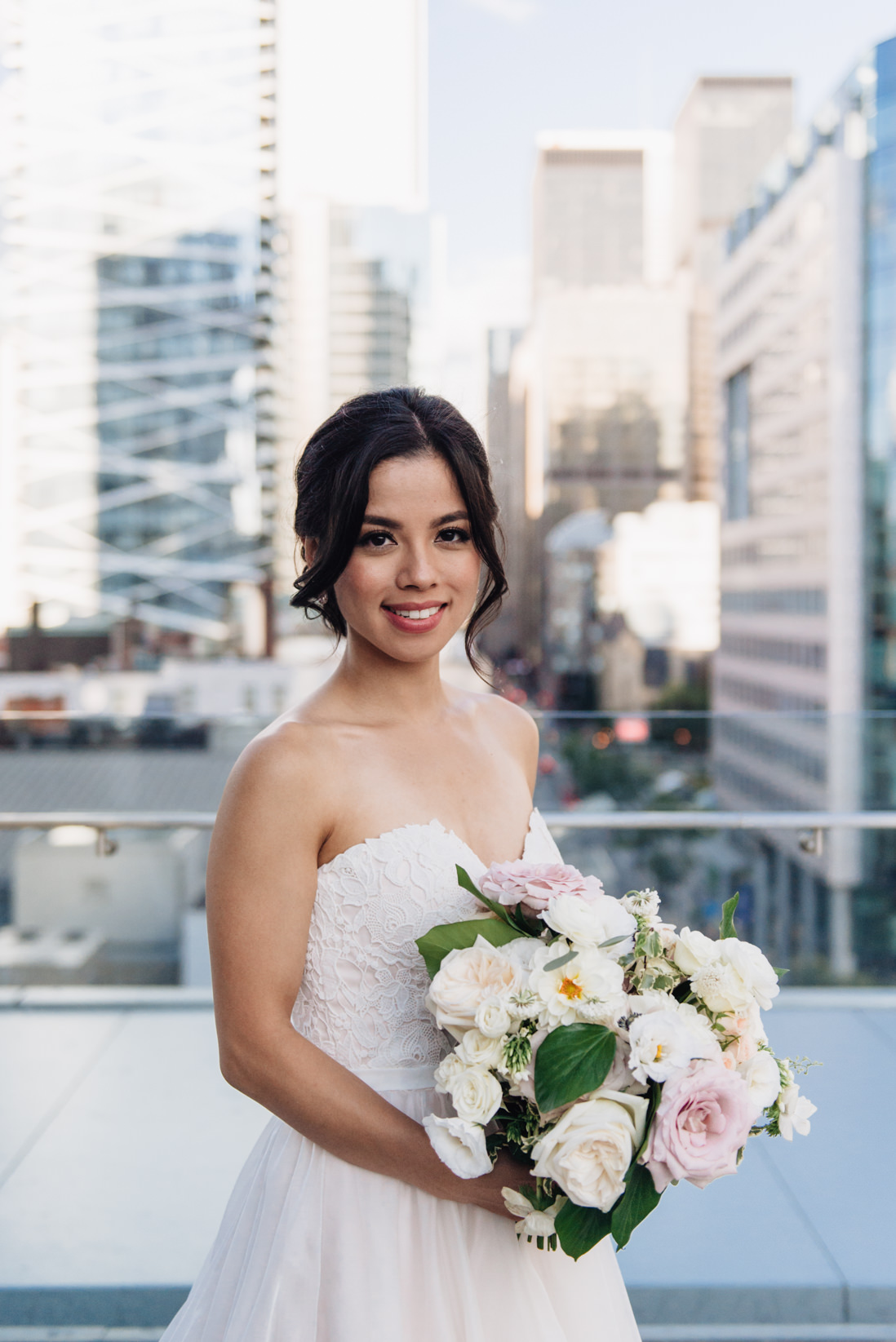essense of australia dress bride with cream and blush bouquet_Malaparte_Wedding_Toronto_Wedding_Photographer | EightyFifth Street Photography