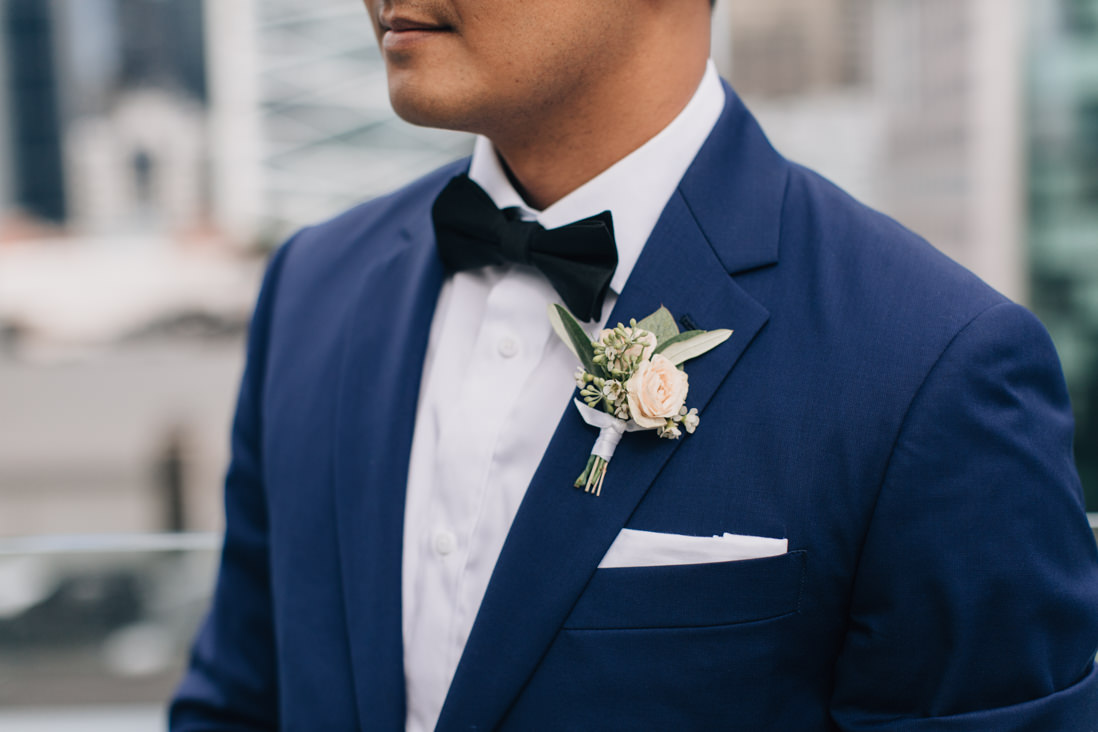 groom style details royal blue suit white boutonniere | EightyFifth Street Photography