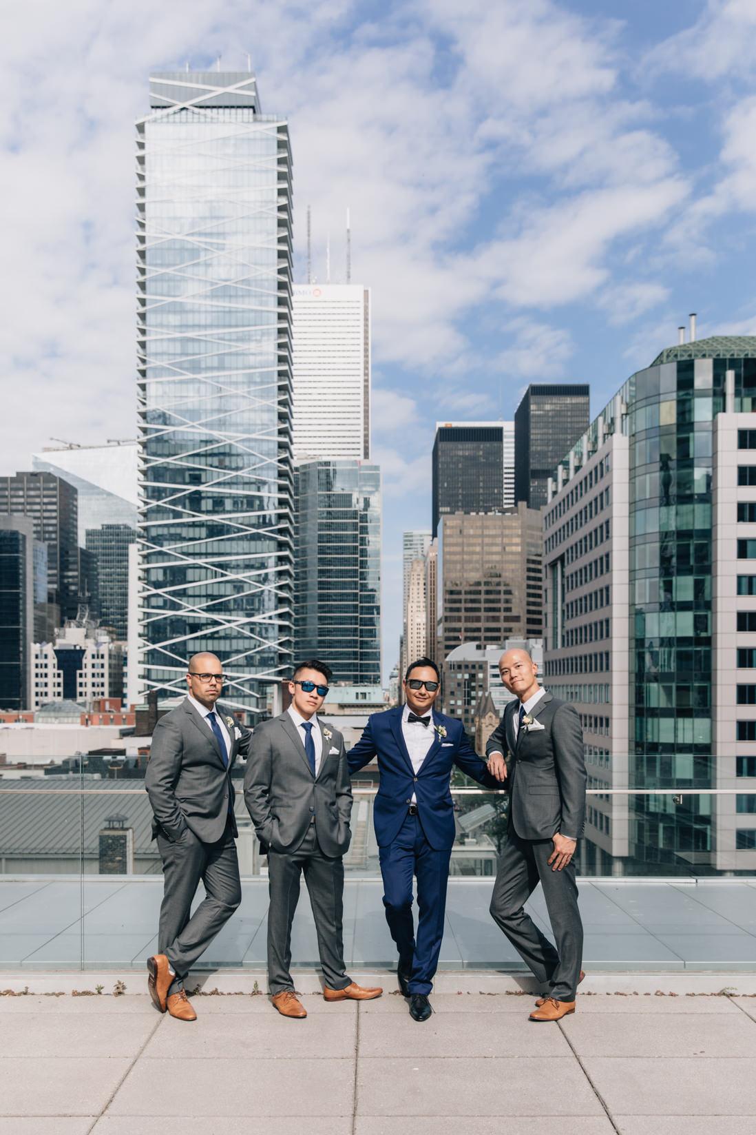 grooms party on malaparte terrace toronto skyline eightyfifth street photography
