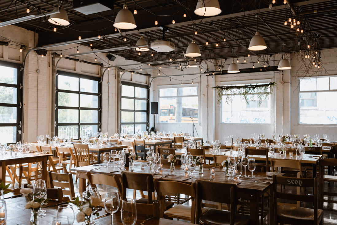 wedding reception setup Propeller Coffee Co Wedding Toronto_EightyFifth Street Photography