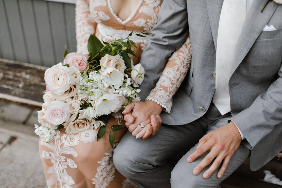 bride and groom clasped hands with pink and cream bouquet by botany floral studio Wedding Toronto_EightyFifth Street Photography