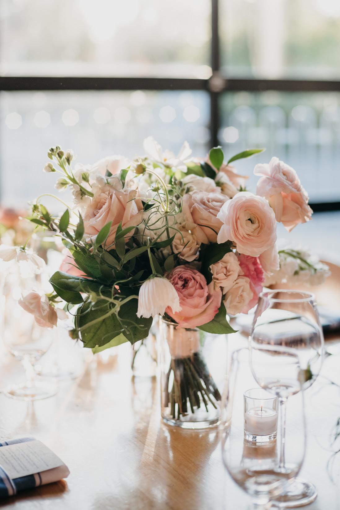 floral centerpiece wedding reception Propeller Coffee Co Wedding Toronto_EightyFifth Street Photography