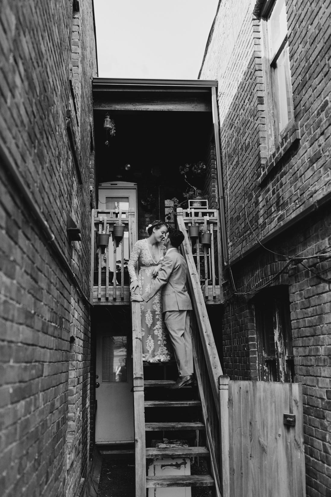 urban city wedding portraits fire escape stairway Toronto_EightyFifth Street Photography